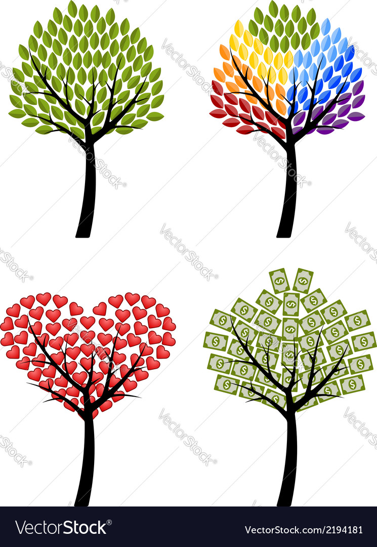 Set of trees eco rainbow hearts money concept vector