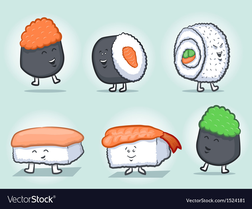 Sushi cartoon icons vector