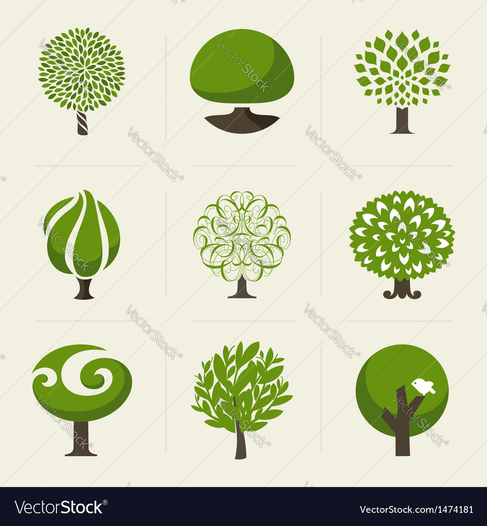 Tree  collection of design elements vector
