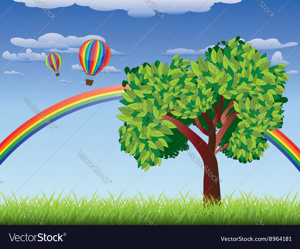 Tree on grass field 2 vector