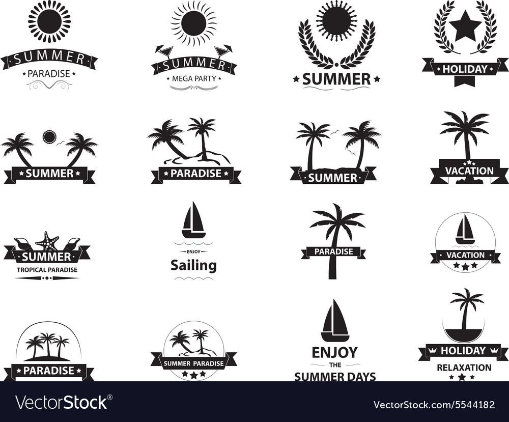 Summer emblem collection vector