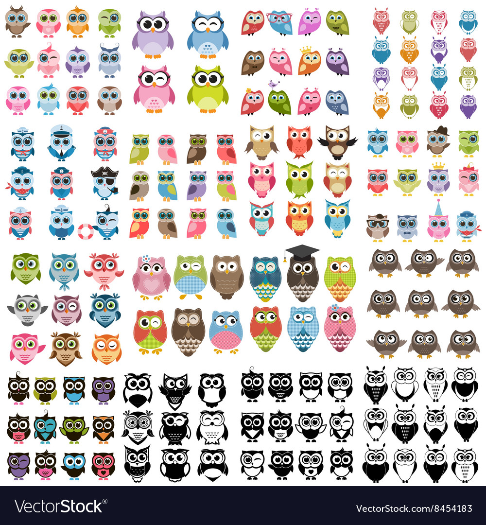 Big set of owls vector