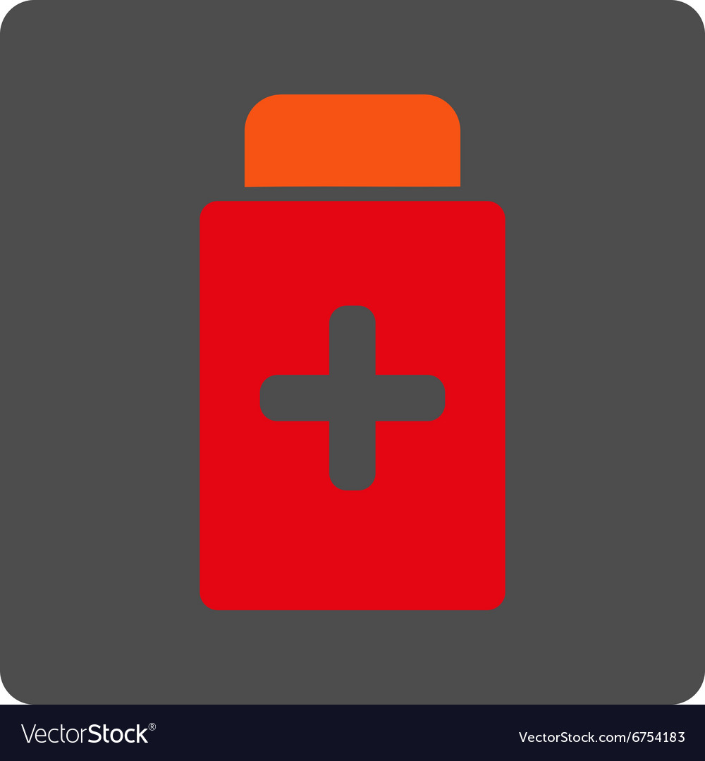 Medication bottle rounded square button vector
