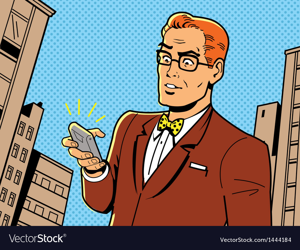 Retro man with glasses and phone vector