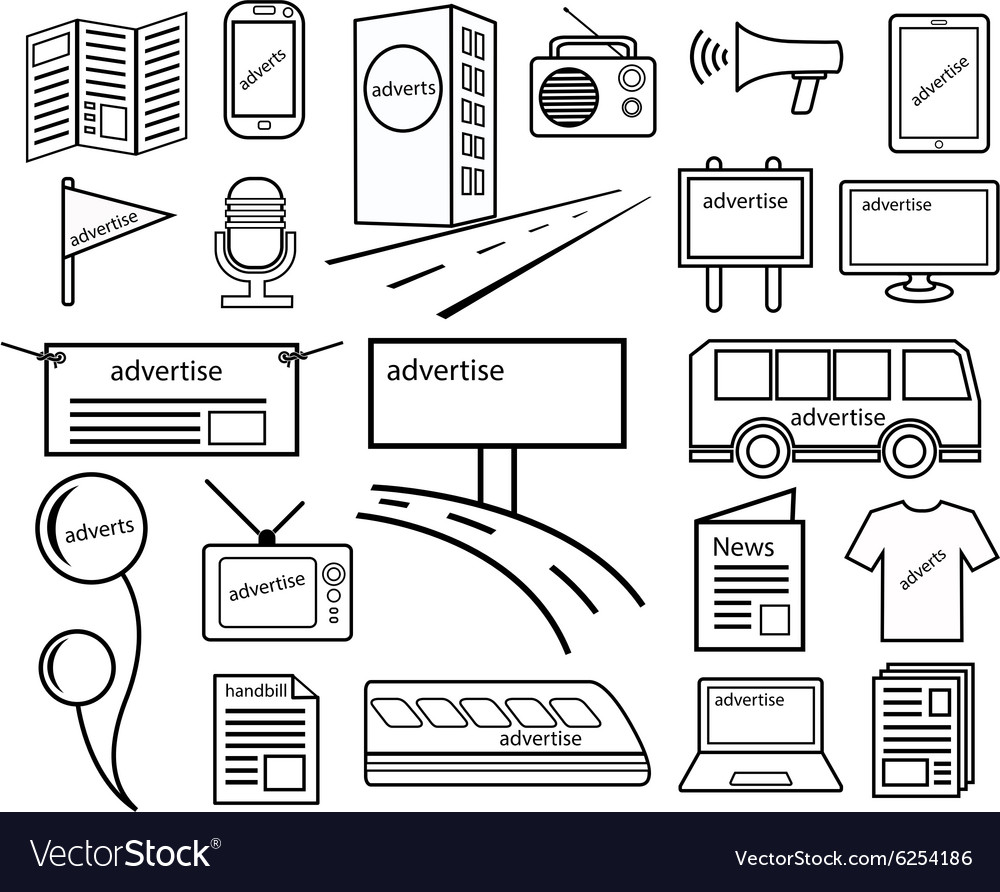 Adverttising channel media line vector