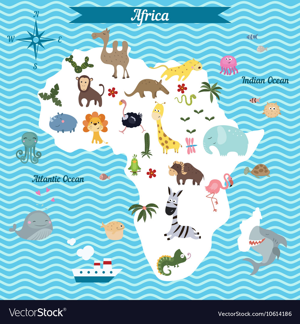 Map of africa continent with animals vector