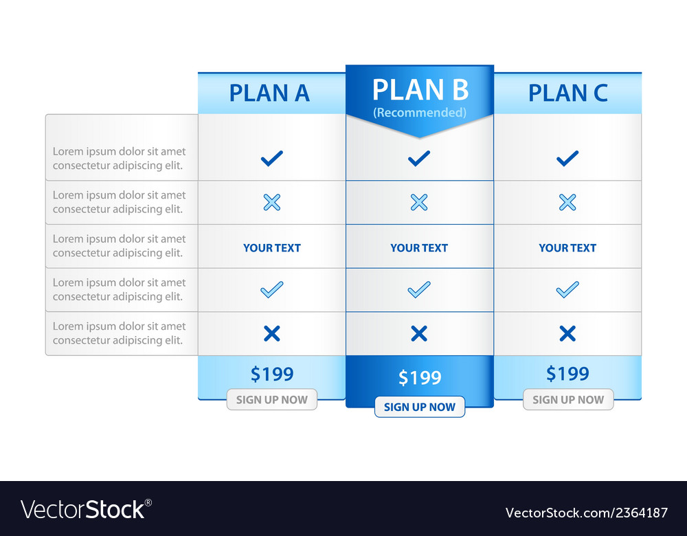 Pricing list with 3 versions comparision vector