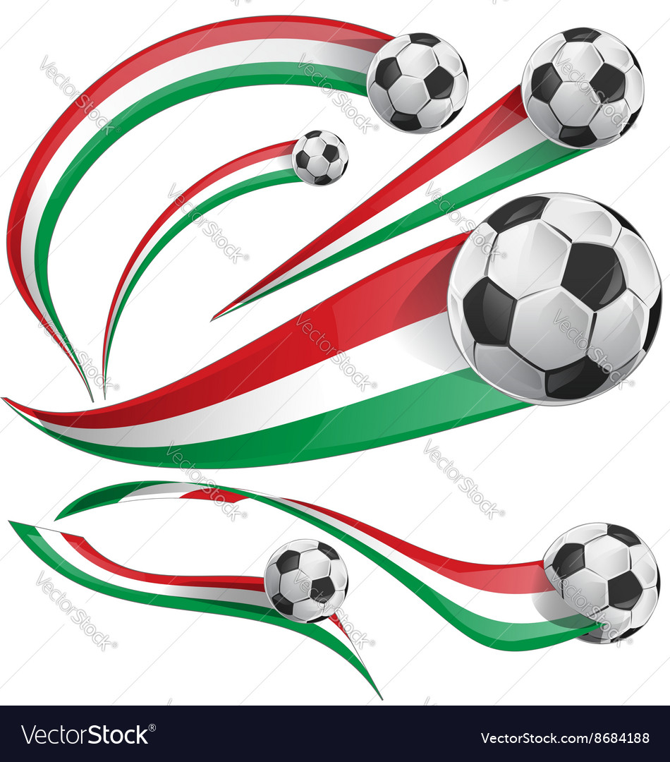 Italian and mexican flag with soccer ball vector
