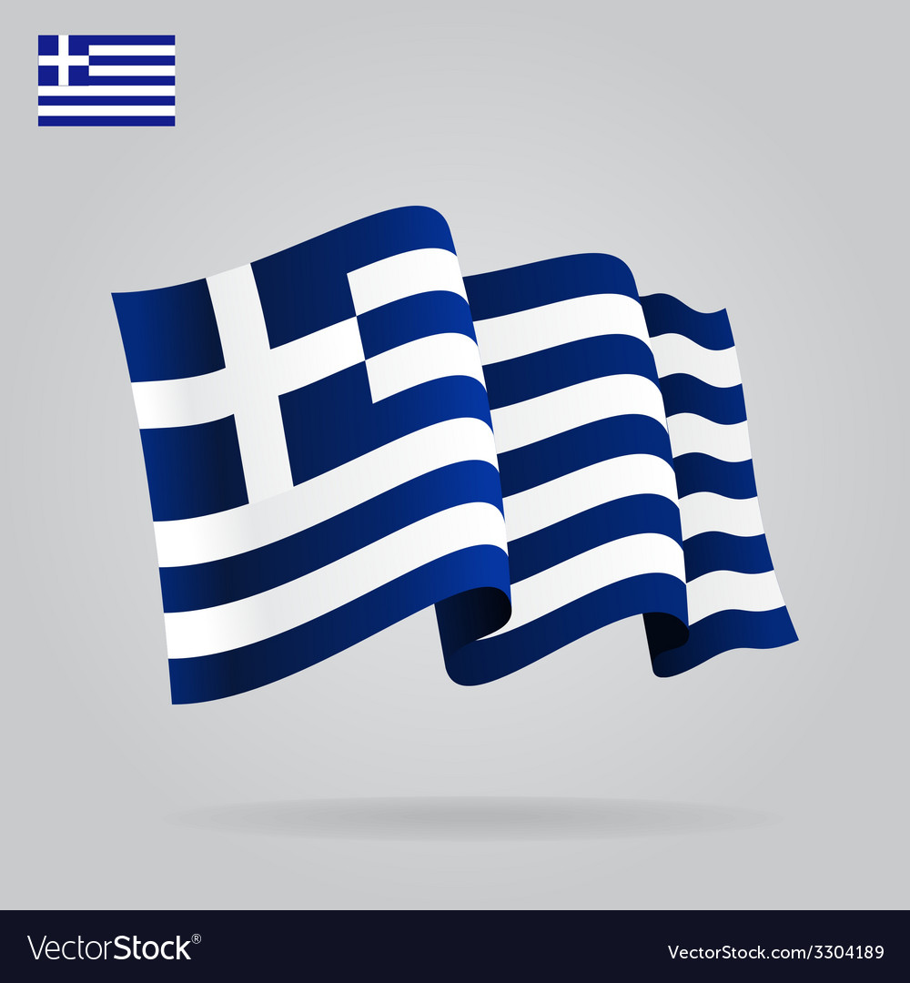 Flat and waving greek flag vector