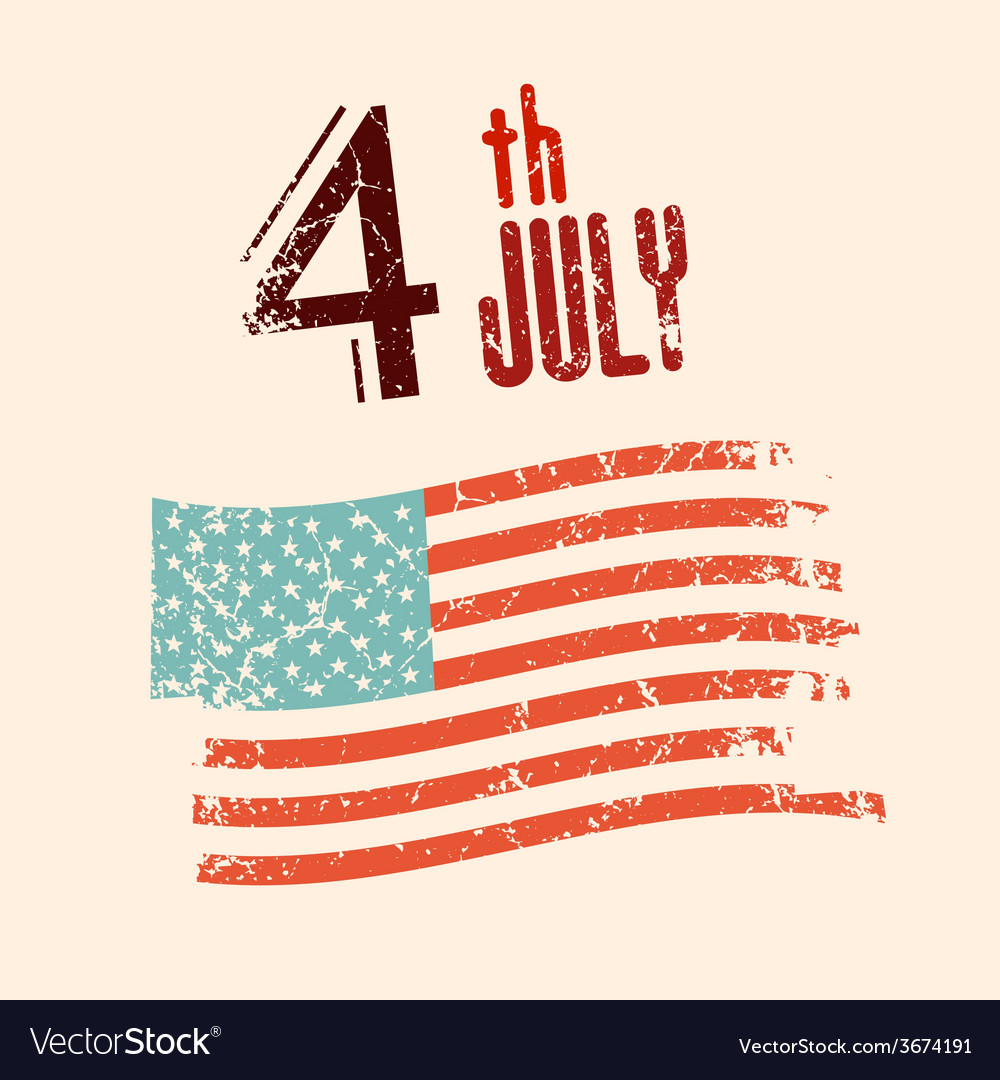 4 th july with grunge american flag vector