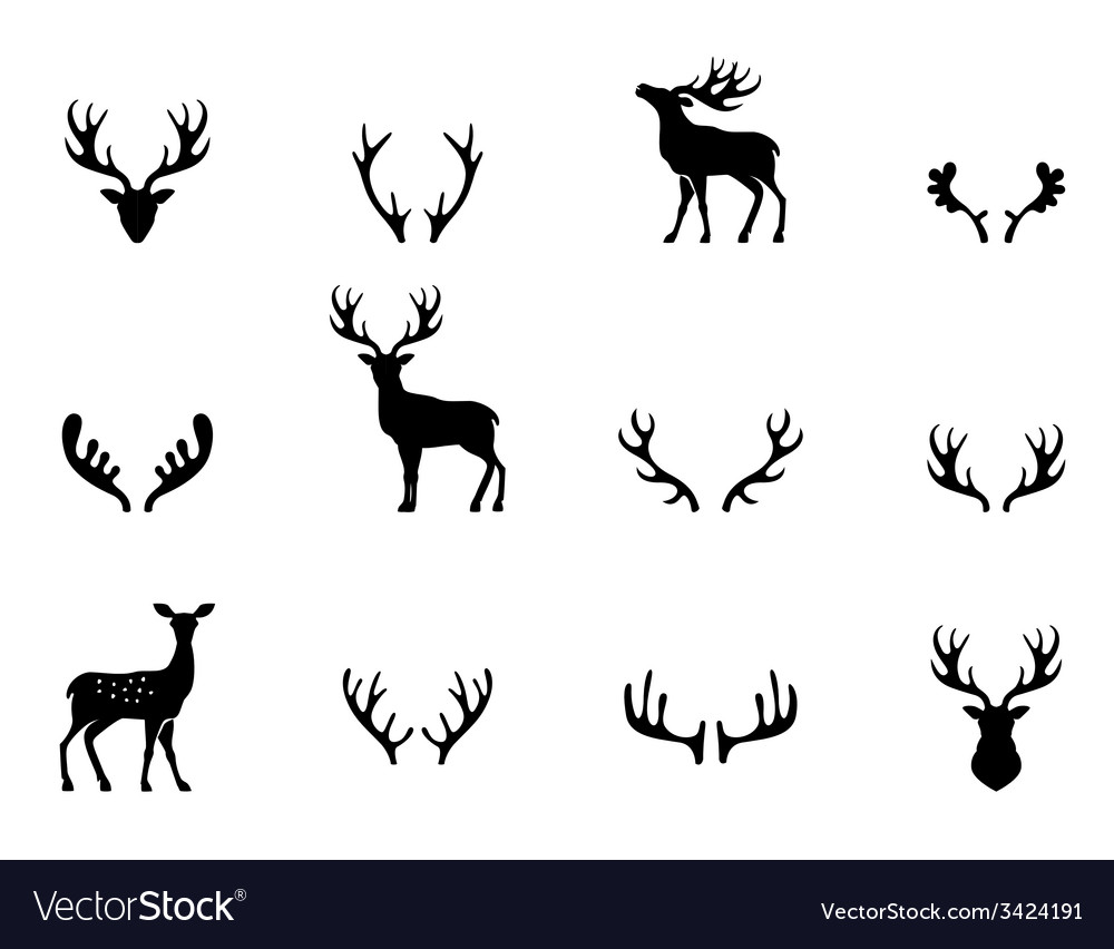 Set of antlers silhouette vector