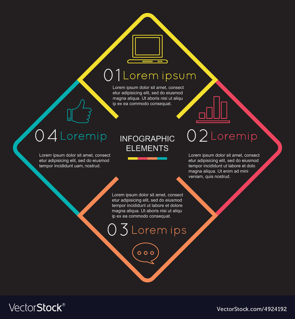 Infographic elements with square 4 option steps on vector