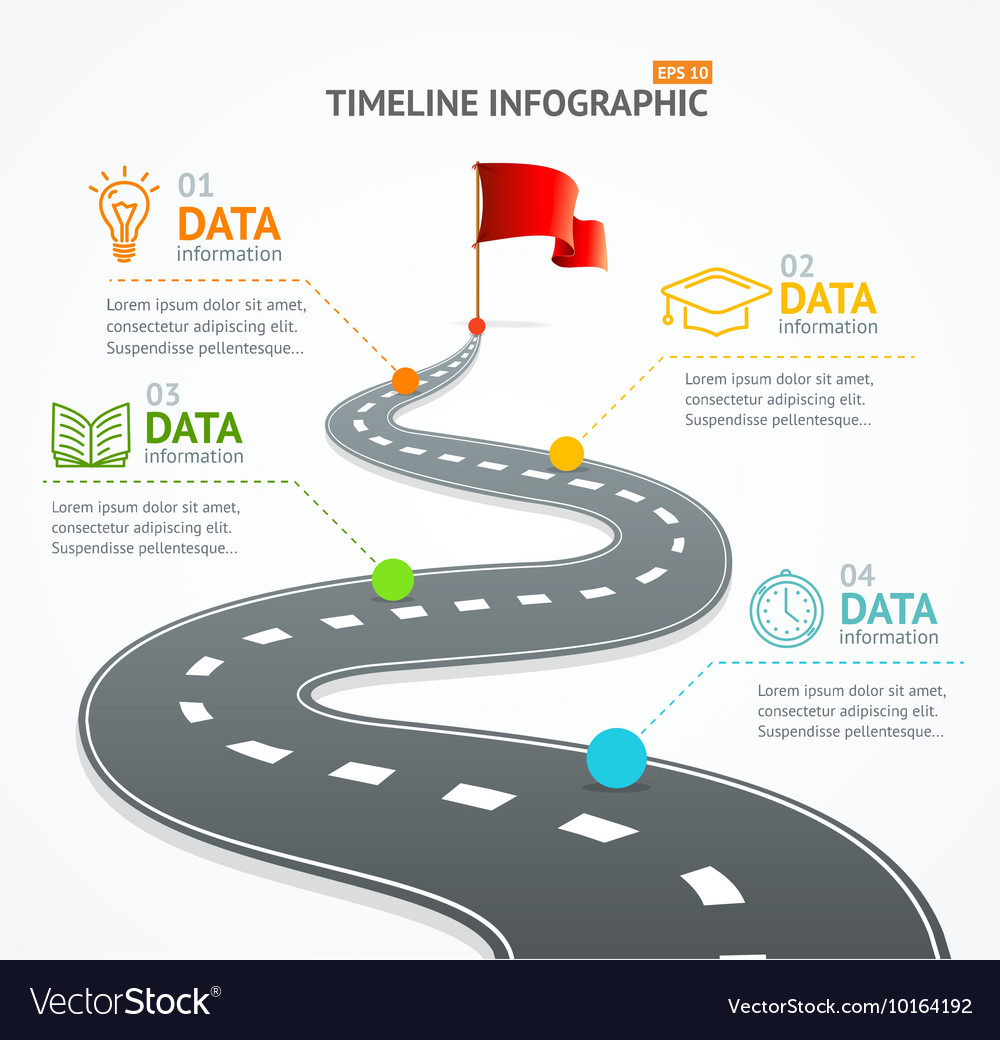 Infographic timeline and road with pointer vector