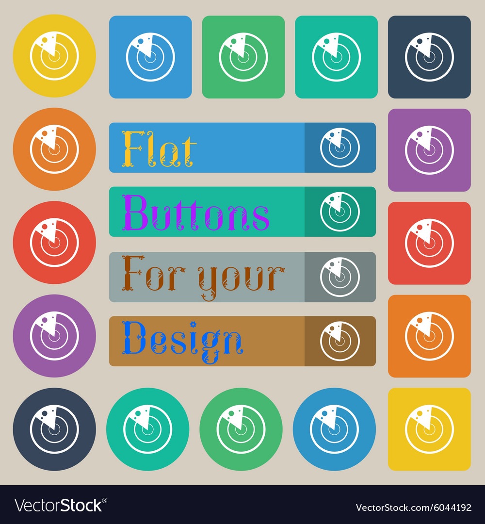 Radar icon sign set of twenty colored flat round vector