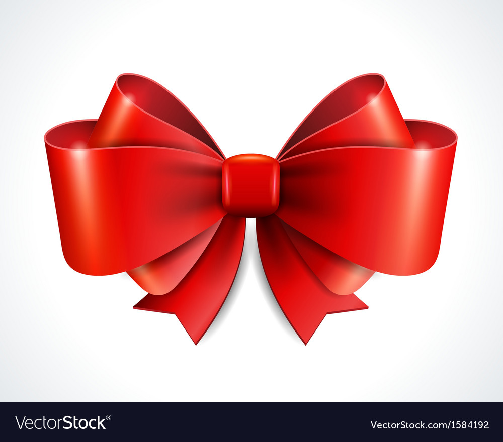 Red gift bow and ribbon vector