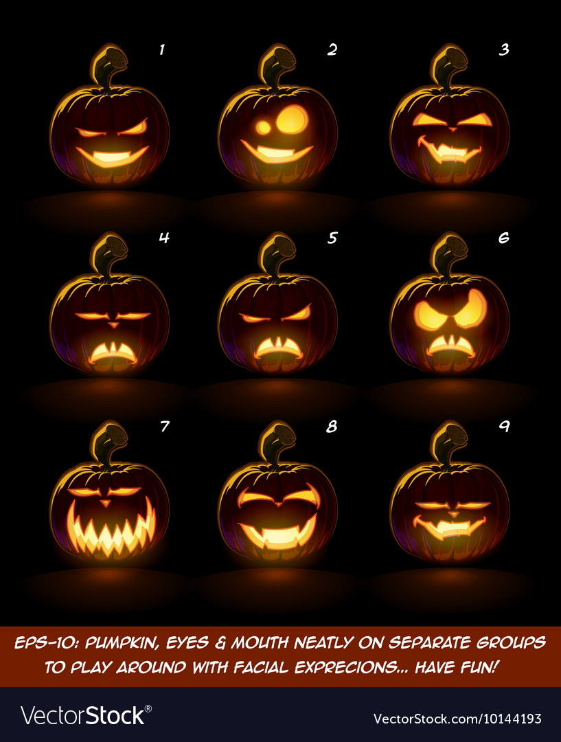 Dark jack o lantern cartoon 9 vampire expressions vector