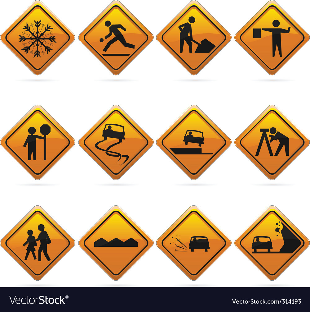 Diamond road signs vector