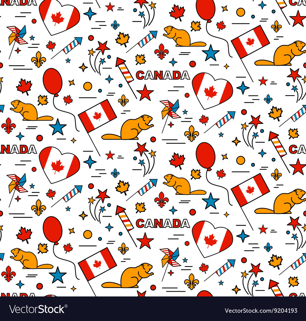 Seamles pattern for canada day 1st of july vector