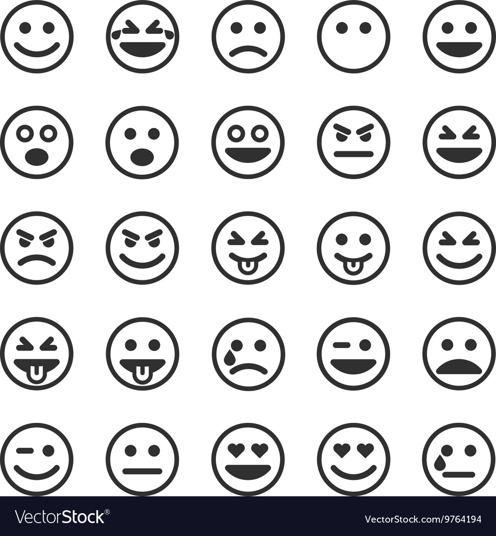Set of black smileys vector