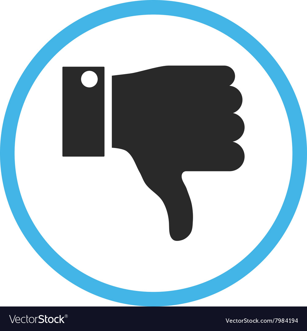 Thumb down flat rounded icon vector
