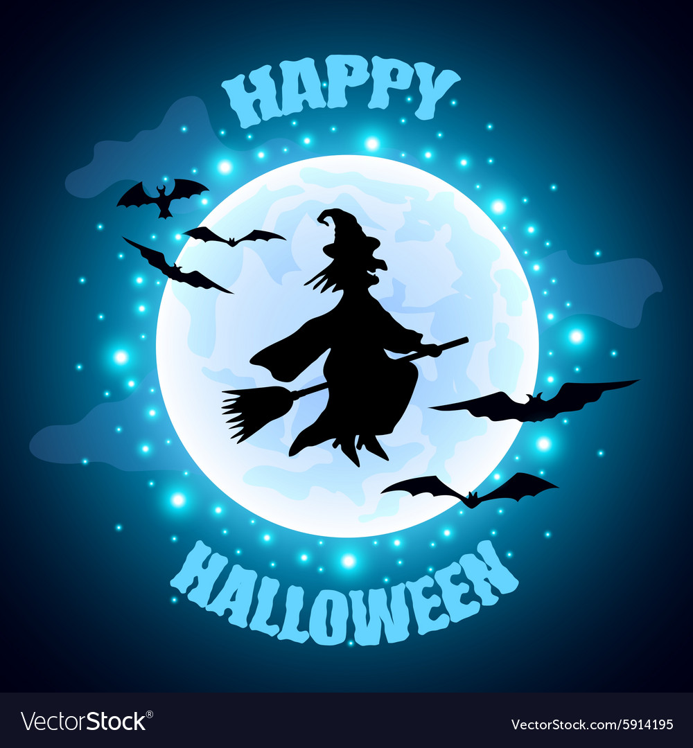 Flying witch on moon background halloween concept vector