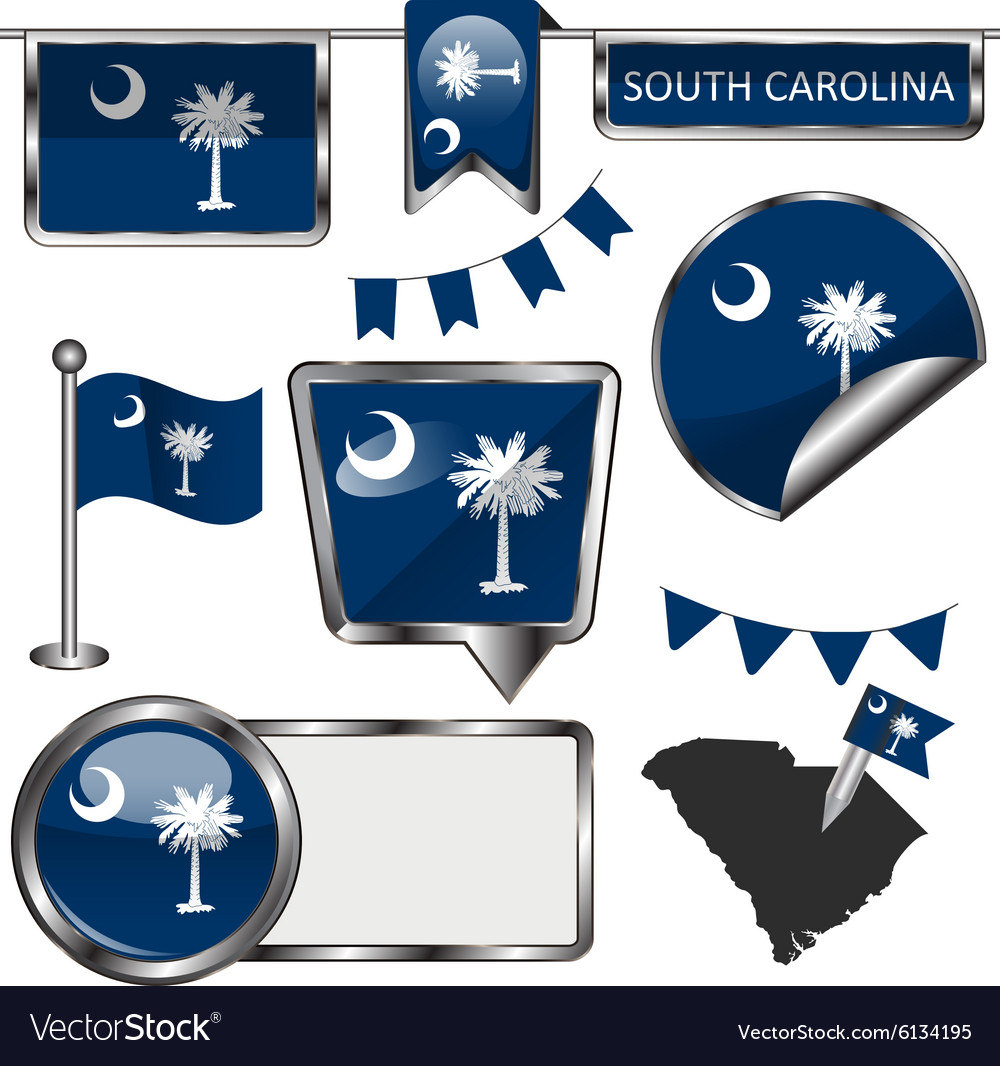 Glossy icons with south carolinian flag vector