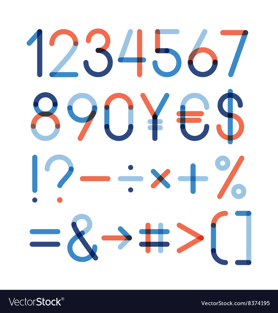 Set  numbers and other symbols vector