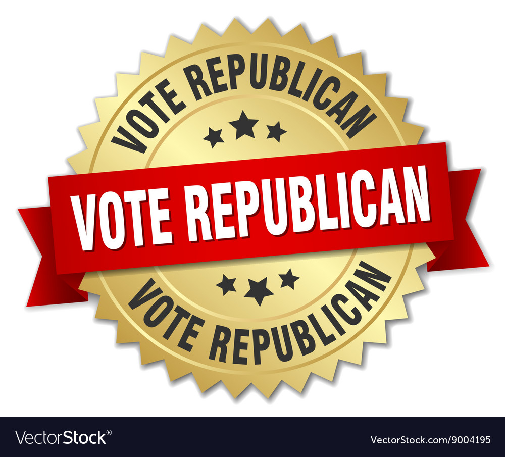 Vote republican 3d gold badge with red ribbon vector