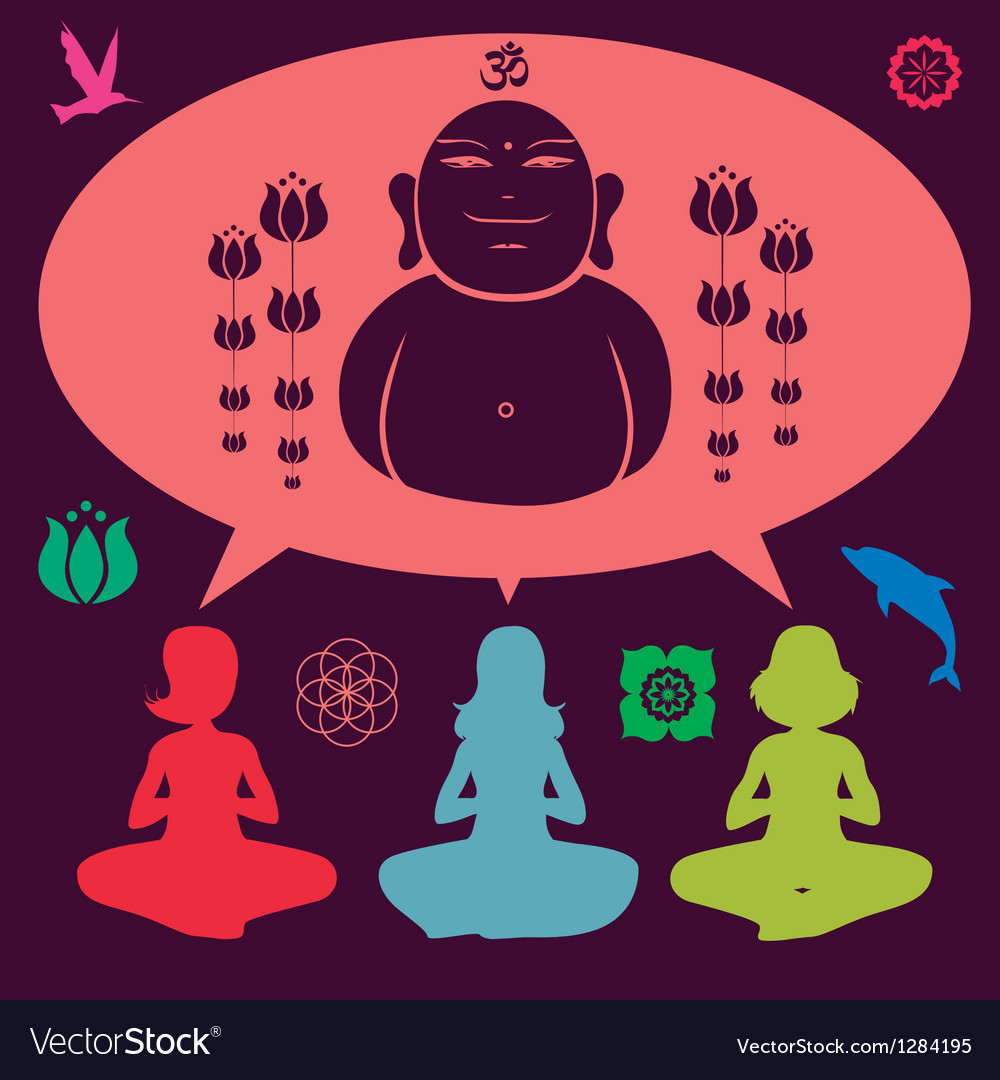 Yoga meditation set vector