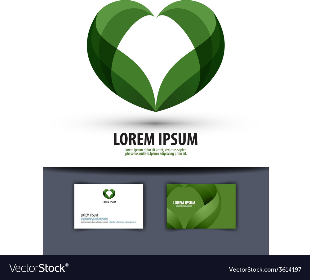 Ecology the leaves are heartshaped logo icon vector