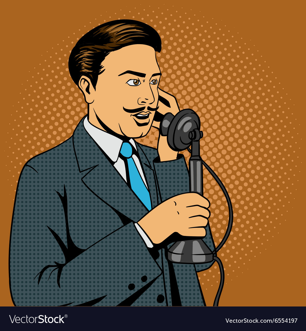 Man talking on the vintage phone vector
