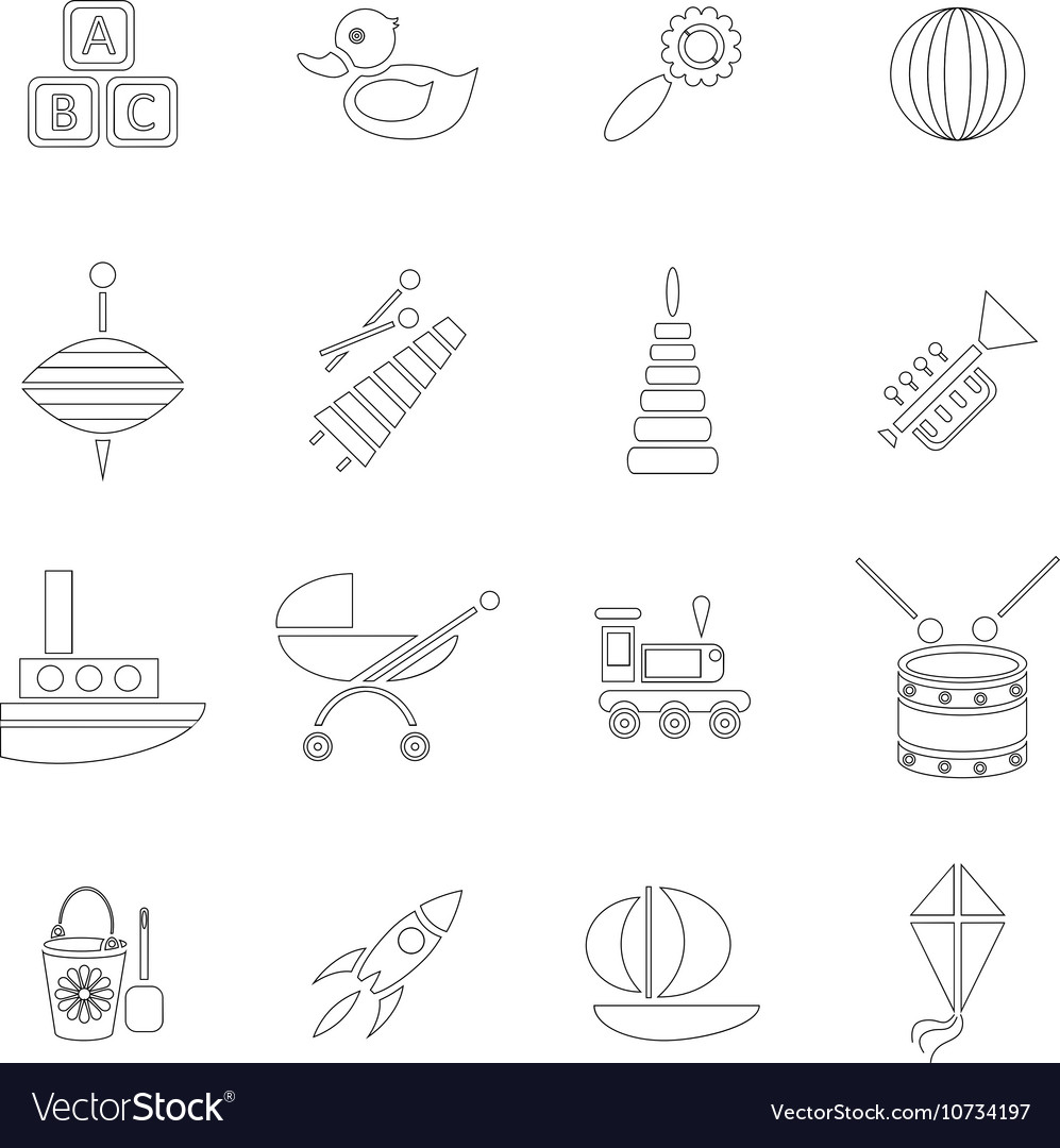 Set kids toys icons vector
