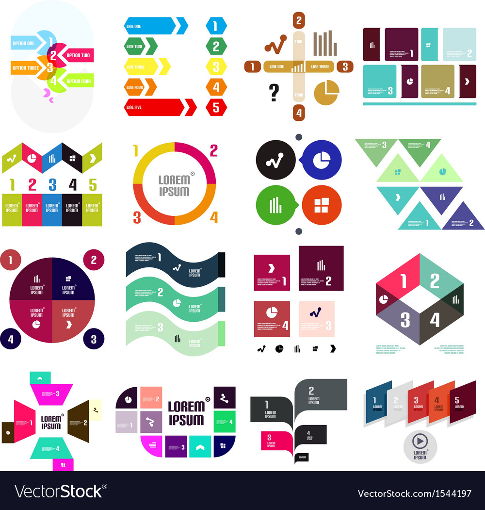 Set of geometrical infographic vector