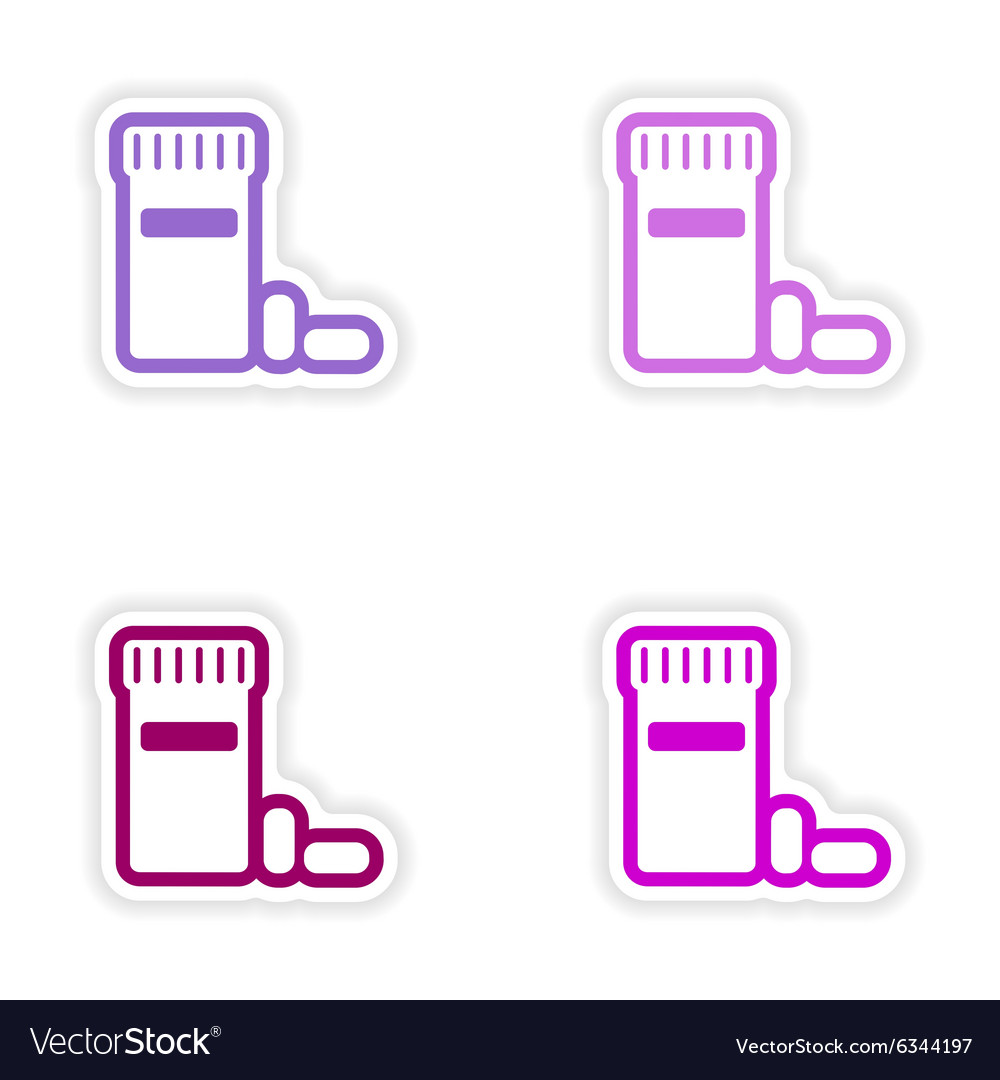 Set paper stickers on white background bottle of vector