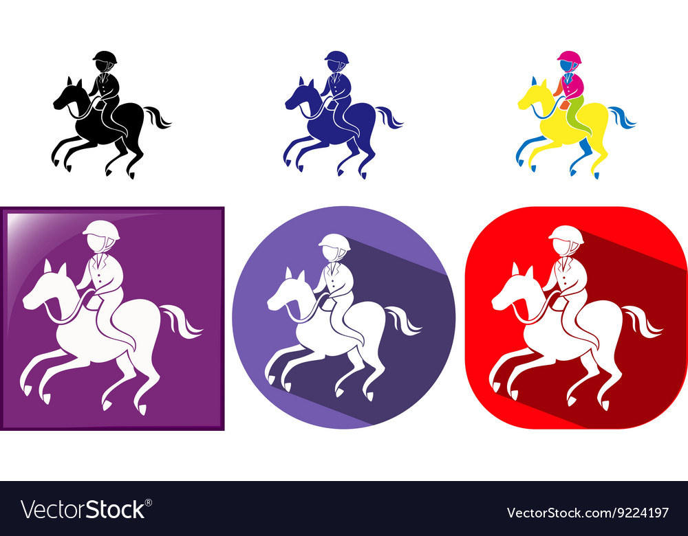 Sport icon design for equestrain on badges vector