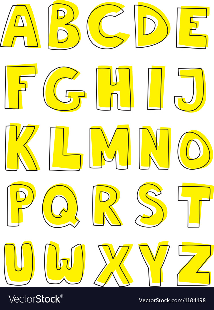Kids full alphabet yellow doodle letters vector