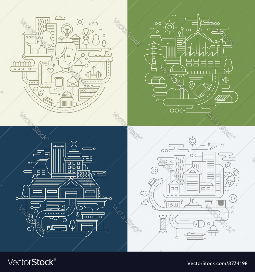 Line design compositions set  city lifestyle vector