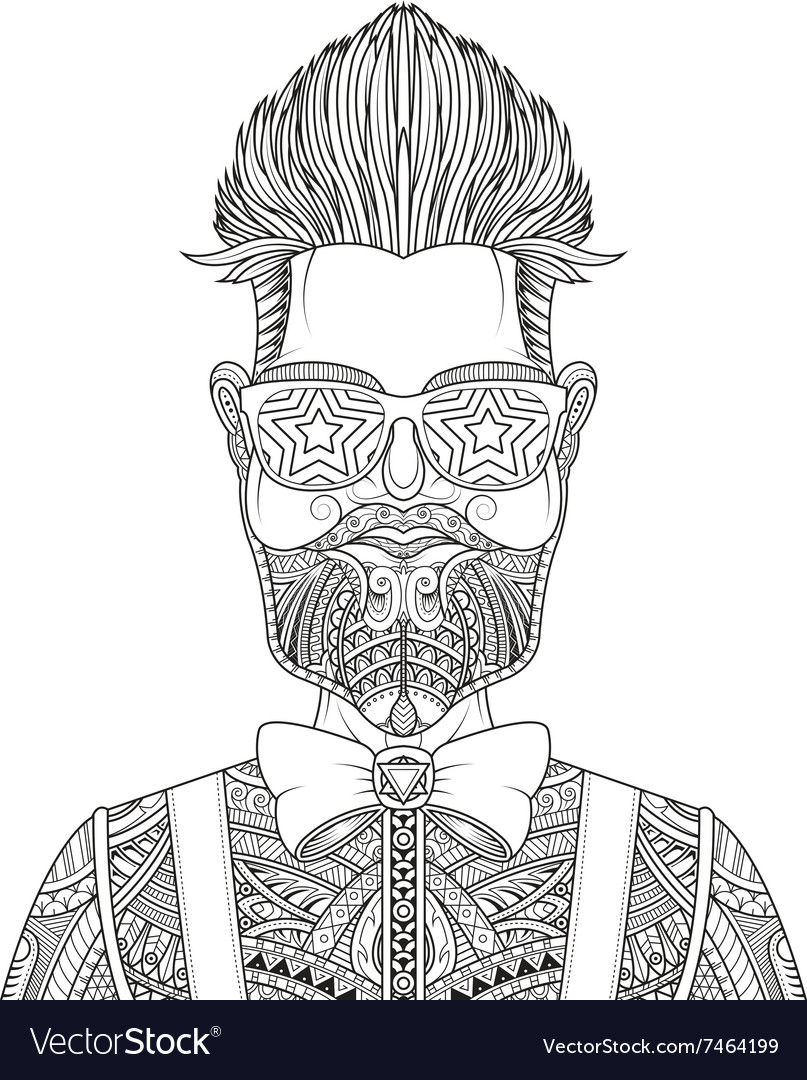 Man with beard and tattoo vector