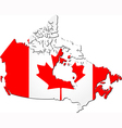 Map of Canada with national flag vector image