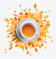 black tea cup  orange leaves vector image