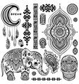 Set of ornamental Indian symbolsEthnic elephant vector image