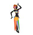 Ethnic dance of cartoon asian girl vector image