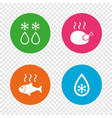 defrosting drop and snowflake fish chicken vector image