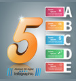 five business infographics origami style vector image