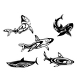 Shark tattoos vector image