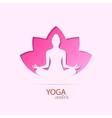 Yoga center girl in lotus silhouette symbol vector image