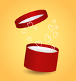 Isolated round red decorative gift box with drawn vector image