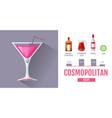 flat style cocktail cosmopolitan menu design vector image