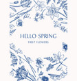 card with spring flowers vector image