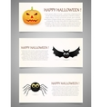 Halloween banner set with pumpkinflying bat and vector image